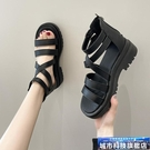 羅馬涼鞋 涼鞋女新款春夏百搭網紅厚底鬆糕后拉鏈羅馬高幫鏤空夾腳涼靴 城市科技