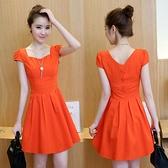 時尚夏季女裝新款韓版小清新氣質修身顯瘦裙子棉麻連身裙洋裝女潮
