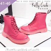 大尺碼女鞋-凱莉密碼-街頭經典時尚真皮8孔馬汀綁帶短靴3cm(41-46)【JM708-17】玫紅