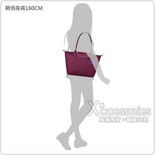 LONGCHAMP COLLECTION刺繡LOGO尼龍摺疊長把拉鍊肩背包(小/梅紅x藍)