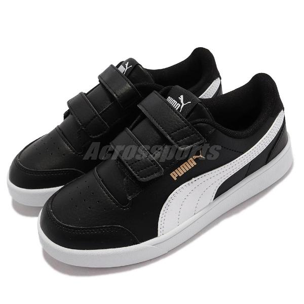 Puma 童鞋 Shuffle V PS 4-7歲 黑色 幼稚園 小朋友 魔鬼氈 運動鞋【ACS】 375689-03