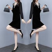 洋裝 中年媽媽裙子連身裙女長袖春秋季小個子氣質大碼別致早初秋黑色裙子N118韓衣裳