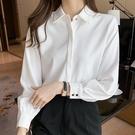 緞面上衣 春夏季新款百搭白色襯衫女長袖正韓職業正裝緞面襯衣女上衣-Ballet朵朵
