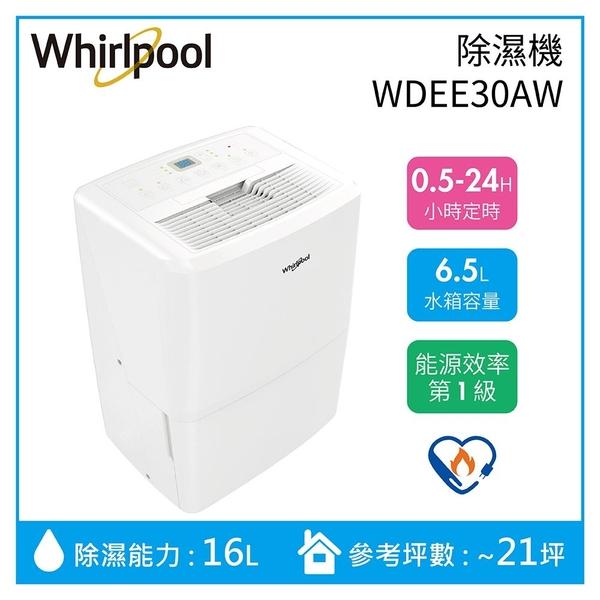 【贈國際吹風機+領卷再折】Whirlpool 惠而浦 16公升 高效能除溼機 WDEE30AW 公司貨