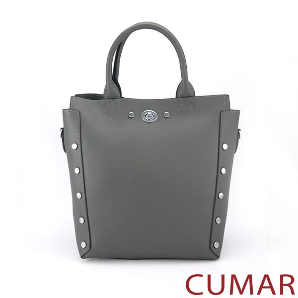 【CUMAR女包】個性造型鉚釘手提/斜背包-灰