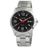 【僾瑪精品】Canody 黑面時尚大數字簡約腕錶-紅黑/43mm/CM2593-D