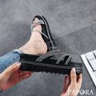 PAPORA鑽條厚底涼拖鞋KB661黑