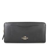 COACH 馬車Logo全皮革ㄇ型前口袋拉鍊長夾 發財包(黑色)-54007