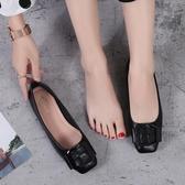 防滑軟底孕婦單鞋女春季韓版時尚方扣平底鞋方頭淺口大尺碼女鞋