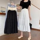 蛋糕裙/百褶裙 半身裙女新款a字裙高腰顯瘦拼接蛋糕裙百搭中長款裙子 夏季新品