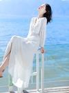 秋季法式復古白色洋裝秋裝新款仙女裙子氣質顯瘦長裙旅遊度假沙灘裙 新年優惠