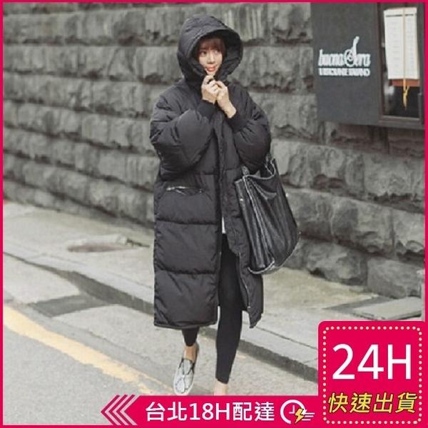 【現貨免運】梨卡-【韓國製】小中大尺碼M-3XL情侶可穿爆款匹諾曹朴信惠款羽絨棉大衣A811