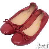 Ann'S輕膚系列-柔軟漆皮芭蕾舞真皮平底娃娃鞋-紅