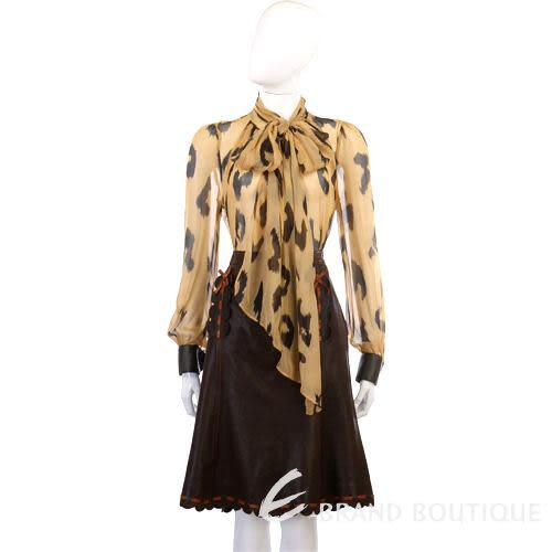 MOSCHINO 花瓣造型滾邊皮裙(咖啡色) 0510109-07