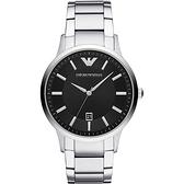 【台南 時代鐘錶 Emporio Armani】亞曼尼 AR11181 義式品味 日期顯示 鋼錶帶男錶 黑/銀 43mm