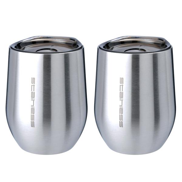 魔力坊嚴選 SL系列原素304不鏽鋼雙層真空保溫杯保冰杯附蓋330ml(2入)【MF0442U】(SF0163)