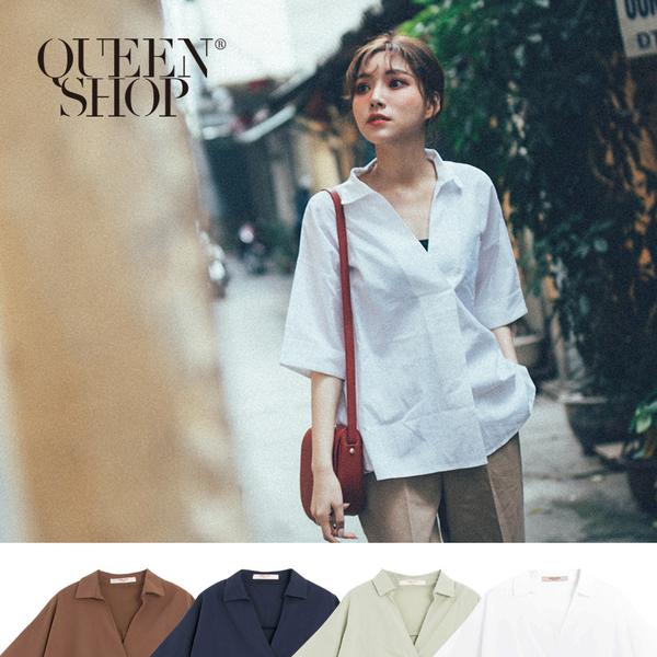 Queen Shop【01096472】基本素色V領七分袖上衣 四色售 *現+預*