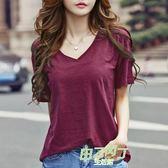 新品竹節棉素面寬鬆半袖V領打底衫簡約白t恤女短袖體恤上衣加大尺碼