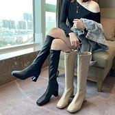騎士靴女高筒靴2021新款秋季百搭粗跟皮靴網紅瘦瘦靴子不過膝長靴 百分百