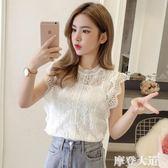 無袖上衣女夏季2019新款韓版氣質甜美百搭顯瘦短款鉤花鏤空蕾絲衫『摩登大道』