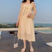 春裝新款溫柔風中長款褶皺蝴蝶結很仙的顯瘦打底吊帶連衣裙女