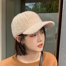 鴨舌帽 女款冬款戶外棒球針織毛線鴨舌帽時尚韓版羊絨保暖騎車防風帽批發