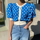 韓國chic甜美減齡愛心刺繡圓領撞色寬松短款單排扣泡泡袖針織衫女N2F-A10-A胖妞衣櫥