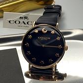 星晴錶業-COACH蔻馳女錶,編號CH00009,36mm玫瑰金錶殼,深黑色錶帶款
