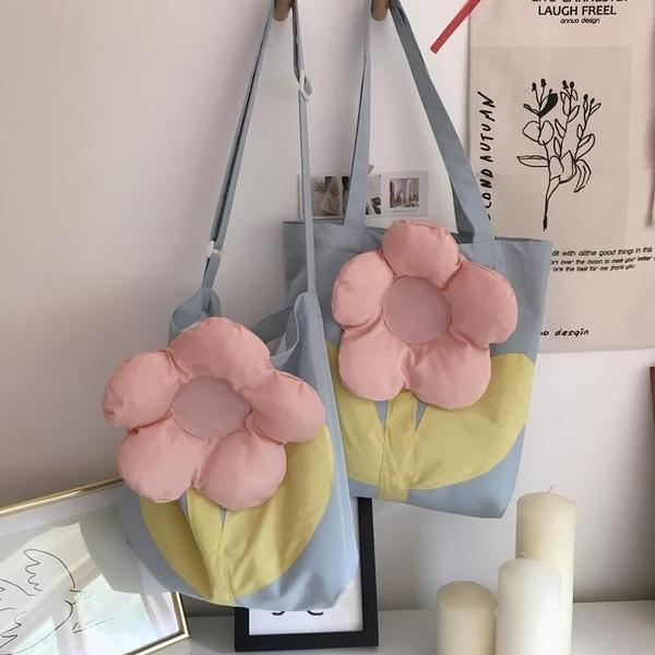 立體花朵單肩造型夏季日系大容量斜挎包女小眾設計感ins帆布包包2 幸福第一站