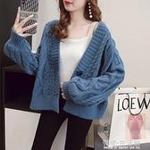 日系短款毛衣開衫女外穿秋冬季新款寬鬆慵懶風針織衫上衣外套 雙十二全館免運