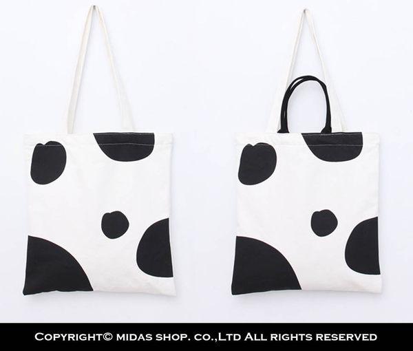 質感純棉 乳牛 帆布袋 帆布包 簡約時尚手提袋 購物袋 側背包 肩背包/手提+單肩/拉鍊開口