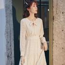 雪紡洋裝 高級感連衣裙 A字型可甜法式炸街白色2021年新款雪紡收腰時尚氣質