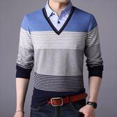 套頭衫男生毛衣 春夏薄款男士長袖中襯衫領假兩件打底衫男士毛衣男針織衫《印象精品》t6513