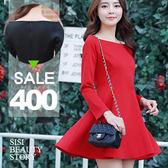 SISI【D5056】優雅空氣感 一字領縮腰長袖傘襬連身裙洋裝 修身連身小禮服