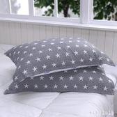 枕巾 柔軟三層紗布棉質枕巾全棉可愛情侶星星加大枕巾宜家款 DR1411【KIKIKOKO】