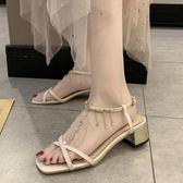 涼鞋 交叉帶涼鞋仙女配裙夏季新款法式少女水鉆方頭時尚羅馬鞋