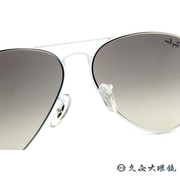 RayBan墨鏡 雷朋飛官墨鏡 經典太陽眼鏡 RB3025 03232 白 久必大眼鏡