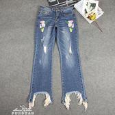 銹花牛仔褲女新款復古寬鬆微喇叭褲顯瘦長褲不規則褲腳流蘇「夢娜麗莎精品館」