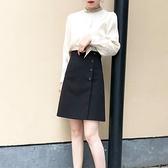a型夏季西裝遮肚子黑色短裙女夏高腰顯瘦胯大中裙裙子a字裙半身裙 【ifashion·全店免運】