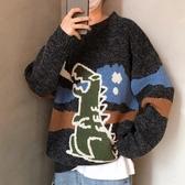 特賣趣味小恐龍提花男女生學院風圓領毛衣秋冬季情侶裝港風針織衫外套