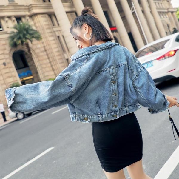 【伊人閣】牛仔外套短款百搭寬鬆風牛仔夾克