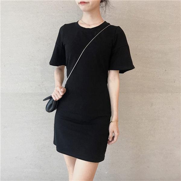洋裝裙 夏季新款女裝韓版chic風小心機后背鏤空氣質百搭純色短袖連衣裙女