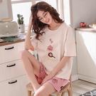 夏季睡衣女夏純棉短袖短褲甜美可愛卡通韓版家居服套裝兩件套睡衣睡衣 家居服