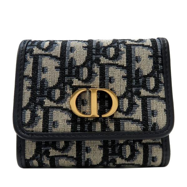 Dior 迪奧 深藍色復古老花帆布三折短夾 30 Montaigne Lotus Wallet【BRAND OFF】