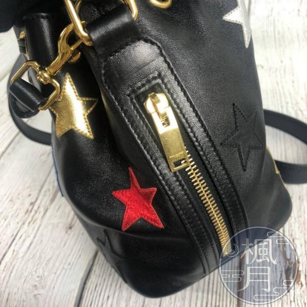 BRAND楓月 SAINT LAURENT 星星黑抽繩水桶包 斜背包