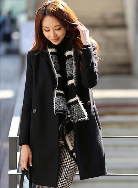 中長款立領羊毛呢大衣外套女