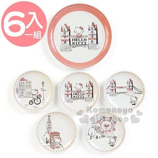 〔小禮堂〕Hello Kitty 日製陶瓷圓盤組《6入.米》點心盤.精緻盒裝.YAMAKA陶瓷 4979855-22601