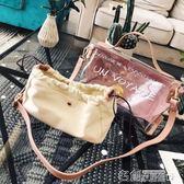 手提包 ins超火包包女新款果凍包透明糖果包字母大包個性潮手提包夏手提包 名創家居館