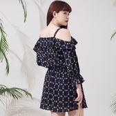 Poly Lulu 幾何印花翻領露肩小洋裝-寶藍【92290121】