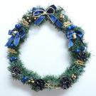 聖誕-摩達客-11吋可愛蝴蝶結聖誕花圈(藍銀色系)(台灣手工組裝出貨)